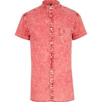 River Island MensRed acid wash grandad shirt