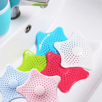 2017 New kitchen silicone five-pointed star sink filter bathroom sucker floor drains shower hair sewer filter colanders strainer