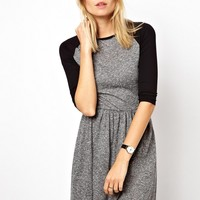ASOS Skater Dress in Texture with Baseball Sleeve - Gray/pink