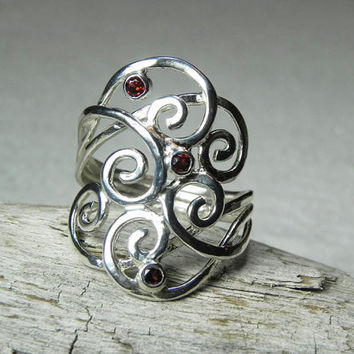 Swirl Ring - Gemstone Wave Ring - Sterling Silver Garnet - Artisan Unique Swirl Jewelry - Silver Spiral Jewelry - Birthstone Ring