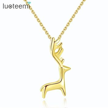 LUOTEEMI Brand Genuine 925 Sterling Silver Gold Color Lovely Long Horned Deer Pendant Necklaces For Women Cute Animal Jewelry