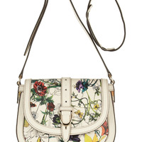 Gucci - Floral-print textured-leather shoulder bag
