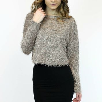 Fuzzy Fur Sweater Crop | Ya Los Angeles