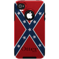 Personalized CUSTOM Otterbox Commuter Case for Apple iPhone 4 / 4S  Red White Blue Rebel Flag Confederate Flag - Name Monogram Custom