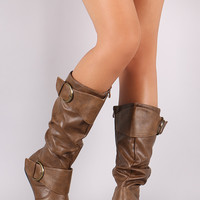 Double Buckle Slouchy Knee High Boots
