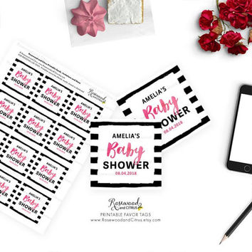 Printable Baby Shower Favor Gift Tags, Printable Favor Tags, Girl Baby Shower, Pink Baby Shower Tags, Pink Watercolor, Stripes Baby Shower