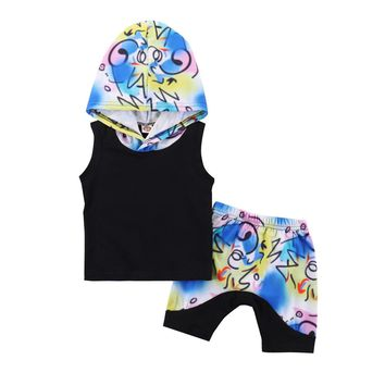 2018 New arrirals Children boys girls clothes set Summer Beaches clothes Cotton sleeveless t-shirt + shorts 2pcs boys outfit