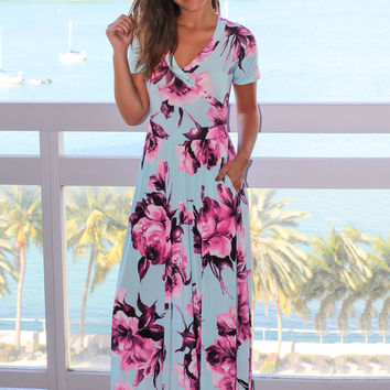 Mint and Purple Floral Maxi Dress