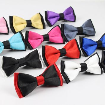 Classic Kid Suit Neckwear Baby Boy's Baby Fashion Solid Color Adjustable BowtiE Chlidren Two Tone Pet Dog Cat Bow Tie