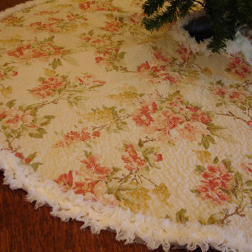 Shabby Chic Christmas Tree Skirt Vintage Style by KaysGeneralStore