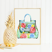 DOLCE And GABBANA BAG,Fashion Print,D&G,Fashionista,Birthday Gift,Gift For Wife,Gift For Her,Fashion Art,Bag Print,Glam Room,Home Decor,