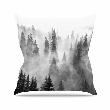 Forest Fog - Black White Nature Photography Throw Pillow