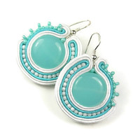 Turquoise, white round soutache earings - aqua blue soutache earrings