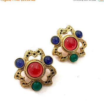 Sculpted Byzantine Revival Pierced Earrings, Mogul Color Gripox Style Glass Cabochons, Antiqued Gold Tone Metal, Pierced Metal Work, Vintage