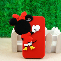 Cute 3D Disney Minnie Mouse Soft Silicone Cover Case for iPhone 4 4S 4G+Gifts