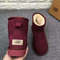 UGG Short boots antiskid warm lazy sheep fur ugg boots Wine red