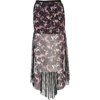 River Island Womens Black print fishtail lace maxi skirt