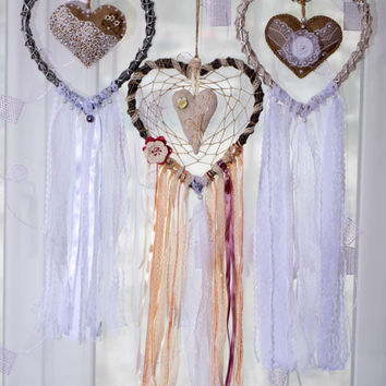 Large dream catcher Large Нeart dreamcatcher Dreamcatchers Boho decor Wall decor Wall hanging Wedding decor Shabby chic Сountry style