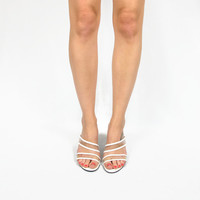 90s Minimalist Slip On Backless Mules Clear Strap Heels Avant Garde Translucent Cut Out Wedge Open Toe Sandals (7.5)