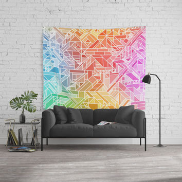 BRIGHT VIBRANT GRADIENT GEOMETRIC SHAPES RAINBOW PRINT TILED MOSAIC TIE DYE COLORFUL Wall Tapestry by AEJ Design