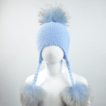 WENDYWU Baby Hat with Real Fur Pompom Children Beanie Boy Girl Natural Raccoon Fur Ball Kids Cap Cute Real Fur Pom Pom Hat