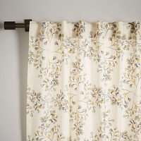 Cotton Canvas Vine Lattice Curtain - Horseradish