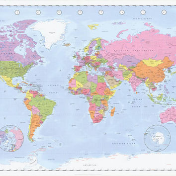 Political World Map Geography Poster 24x36