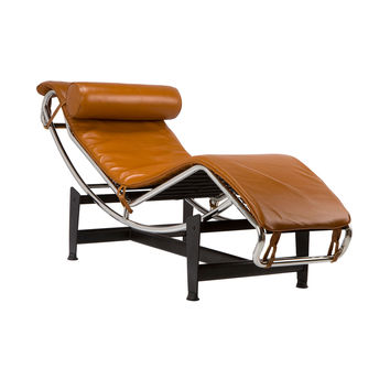 Chaise Lounge Chair in Tan Leather
