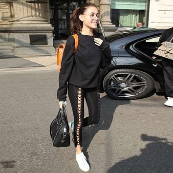 Women Solid Color Bodycon Hollow Crisscross Bandage Strappy Leggings Trousers Leisure Pants