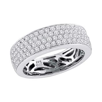 14kt White Gold Women's Round Pave-set Diamond Comfort Wedding Band 1.00 Cttw - FREE Shipping (US/CAN)