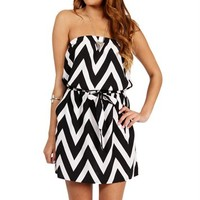 BlackWhite Strapless Chevron Tunic