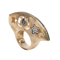 Hand Carved Dome Ring Vermeil Gold