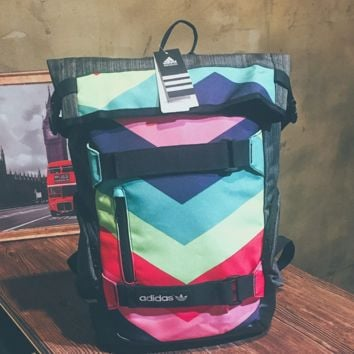 RAINBOW Striped Prined Canvas Large ADIDAS Backpack College School Bag Travel Bag Daypack