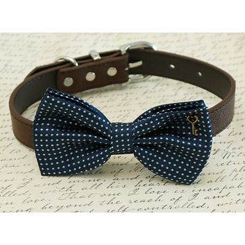 Navy Polka dots dog Bow tie attached to collar, Pet wedding, charm