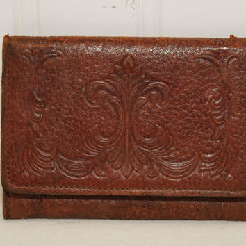 Vintage Brown Embossed Tri-Fold Leather Wallet (c. 1940's-1950's) Folding Billfold, Men's Wallet, Vintage Wallet, Retro Wallet, Coin Pocket