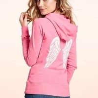 Victoria's Secret Supermodel White Sequin Angel Wings Pink Jacket Hoodie S