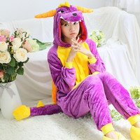 Flannel Purple Dragon Pajamas Costume Cartoon Anime Pokemon Cosplay Adult Unisex Dinosaur Onesuits Animal Pijama S M L XL