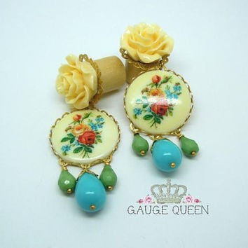 "Summer Bouquet Dangle Plugs / Gauges. 4g / 5mm, 2g / 6mm, 0g / 8mm, 00g / 10mm, 1/2"" / 12mm, 9 / 16""/ 14mm by Gauge Queen on Etsy"