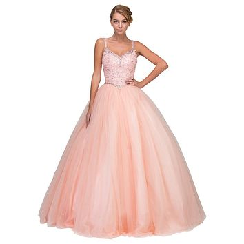 Blush Lace Beaded Quinceanera Dress Sweetheart Neck Lace Up Back