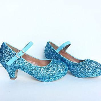 DCK7YE Light Blue Glitter Girls Heels, Aqua Flower Girl Shoes
