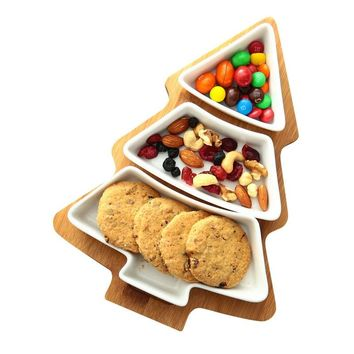 Creative Christmas Tree Wooden Tray Fruit Plate Ceramic Snack Partiti Flat Dish Decoration Food Tray Food Container Sushi Plate