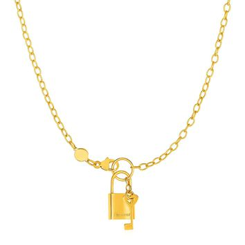 Necklace with Lock and Key in 14K Yellow Gold