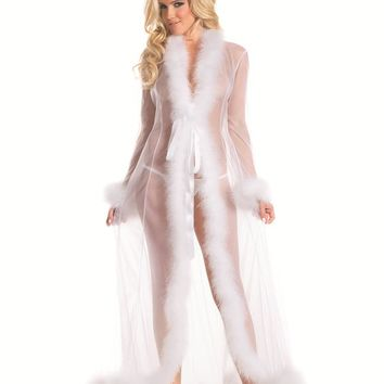 Bewicked Female Sheer Full-Length Robe With Chandelle Feather Trim. BW1650WT