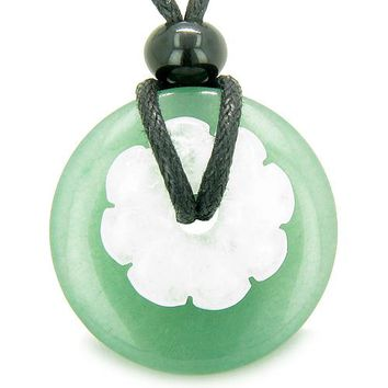 Double Lucky Amulet Magic Donut Flower Aventurine White Jade Protection Healing Pendant Necklace