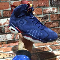 Nike Air Jordan VI 6 Retro DB Doernbecher Navy Blue White Red Gold Basketball Shoes