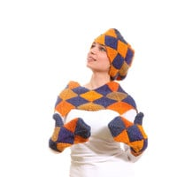 Geometric Knit Scarf, Mittens and Collar Set, Domino Knitting by Solandia, Neckwarmer Knitted Hat, orange, blue, women accessories