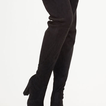 Go Chunky Faux Suede Thigh-High Boots GoJane.com