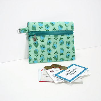 Small Coin Purse/Change Wallet, ID/Card Wallet,Zippered Coin Pouch,Aqua and Green Floral Print Coin Purse