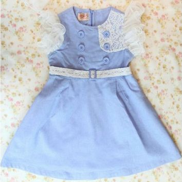 Vintage Inspired Girls Clothes Blue Vintage Inspired Dress For Girls | Vindie Baby