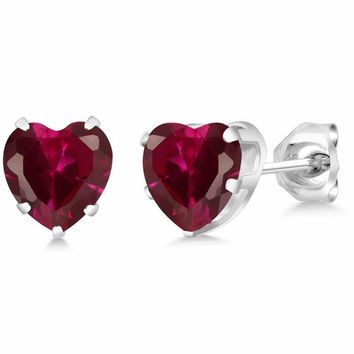 1.92 Ct Heart Shape 6mm Red Created Ruby 925 Sterling Silver Stud Earrings